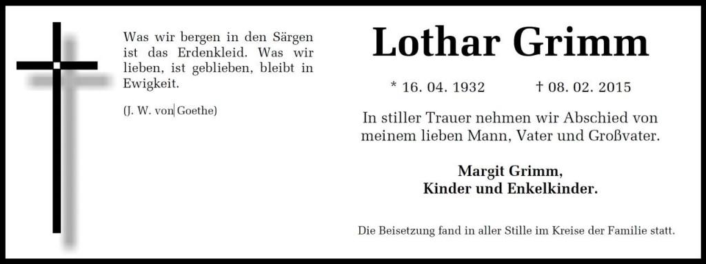 Todesanzeige Lothar Grimm
