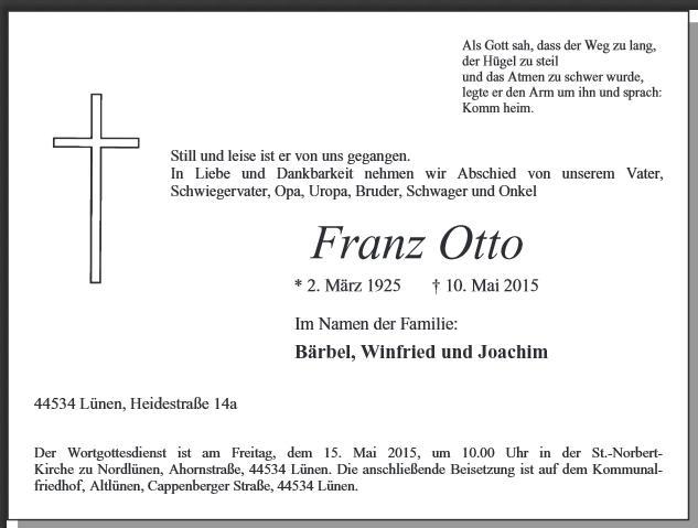 Todesanzeige Franz Otto