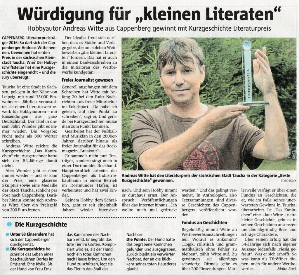 Literaturpreis für Andreas Witte