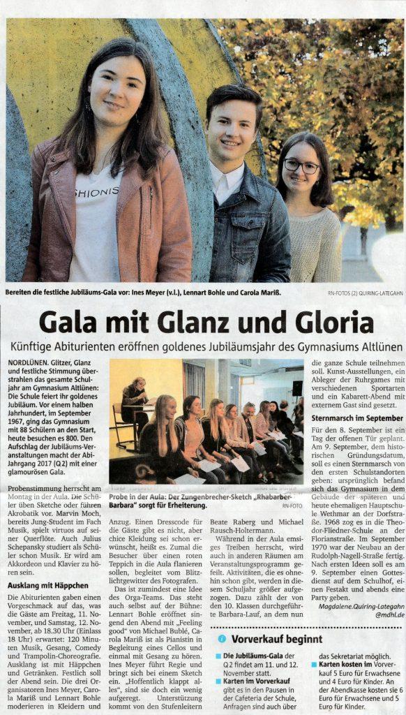 RuhrNachrichten, Lokalteil Lünen, vom 02. November 2016