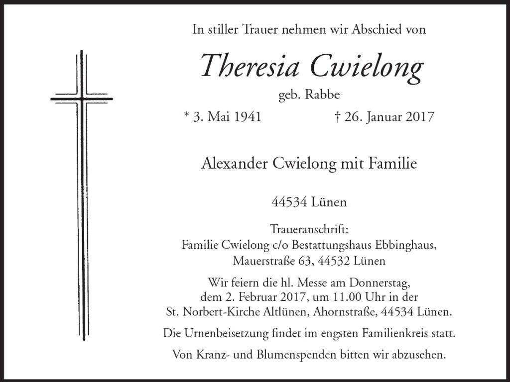 Die Todesanzeige von Frau Cwielong in den RuhrNachrihcten vom 28. Januar 2017