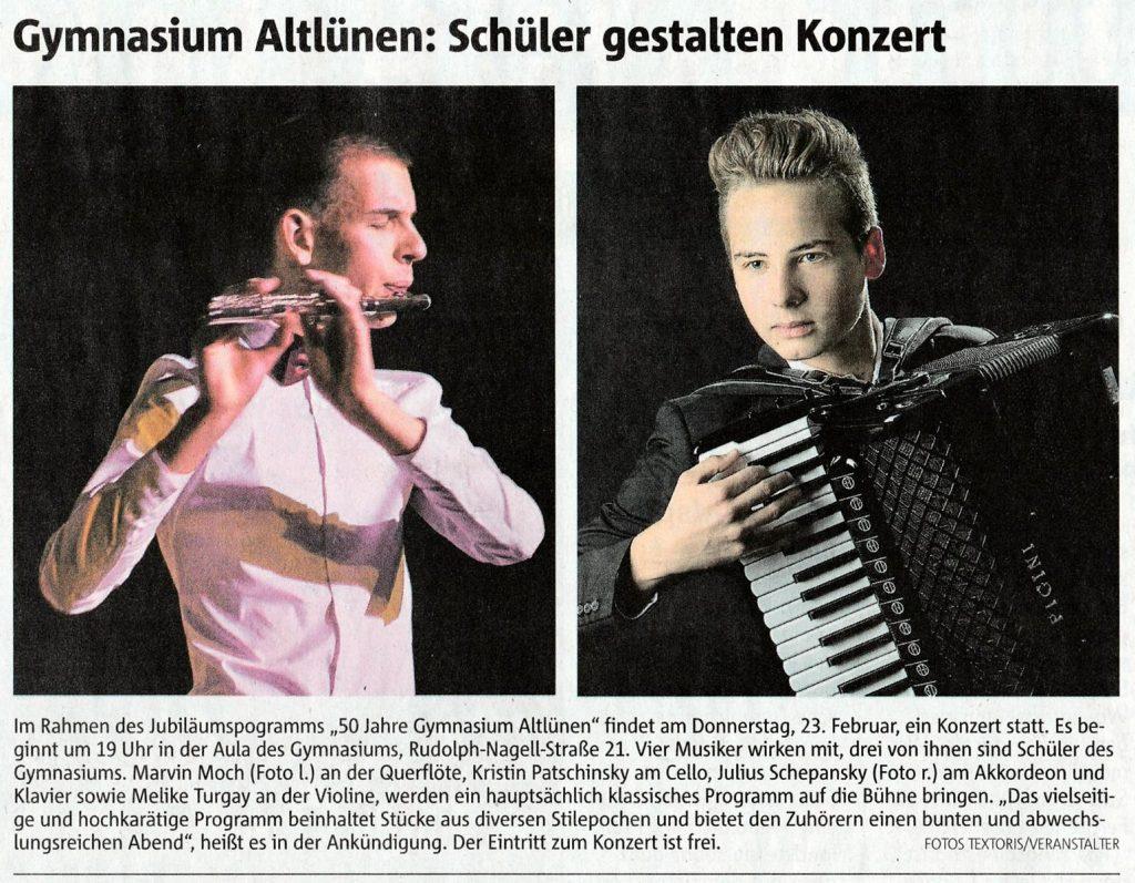RuhrNachrichten vom 20.2.2017-Konzert im Rahmen des Jubiläumsjahres am GA