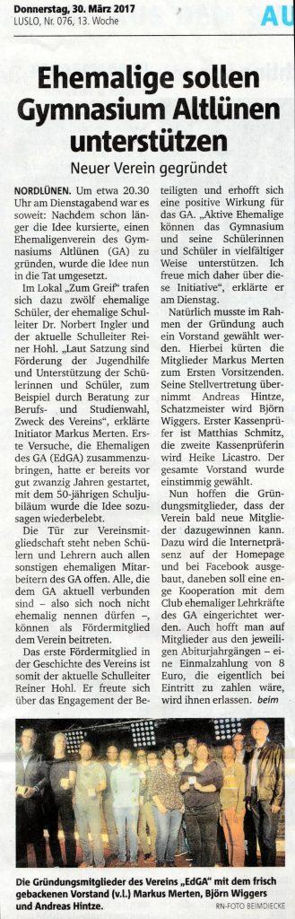 Bericht aus den RuhrNachrichten vom 30.3.2017 zur Gründung des EdGA-Vereins