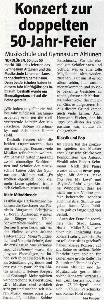 Konzertkritik aus den RuhrNachrichten vom 16.5.2017