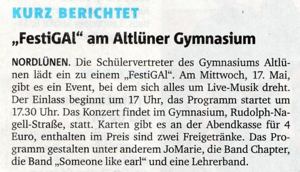 Ankündigung aus den RuhrNachrichten vom 16.5.2017