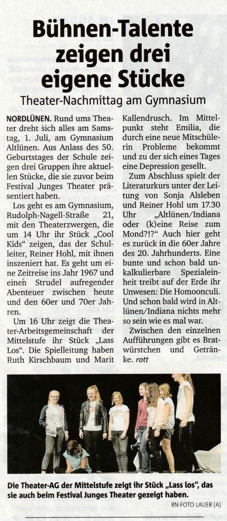 Ankündigung aus den RuhrNachrichten vom 27.6.2017