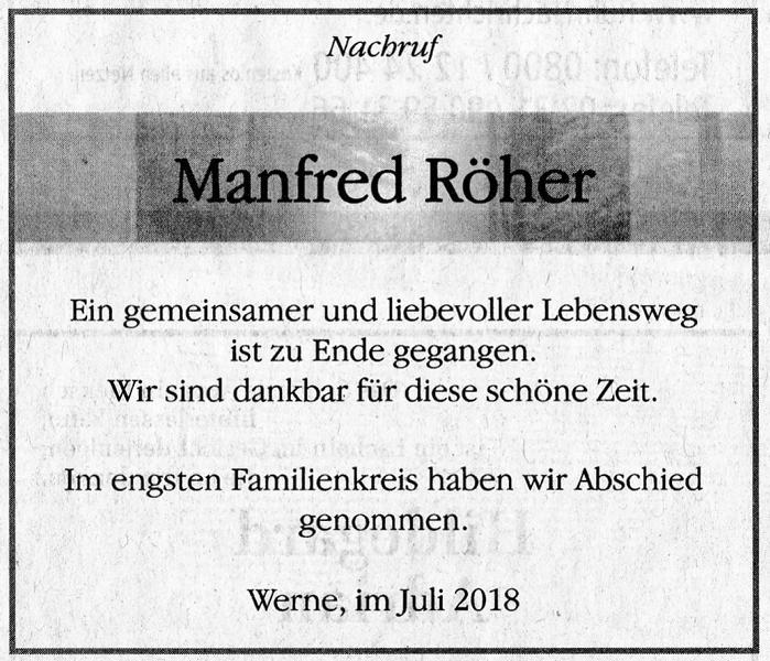 Nachruf auf Manfred Röher